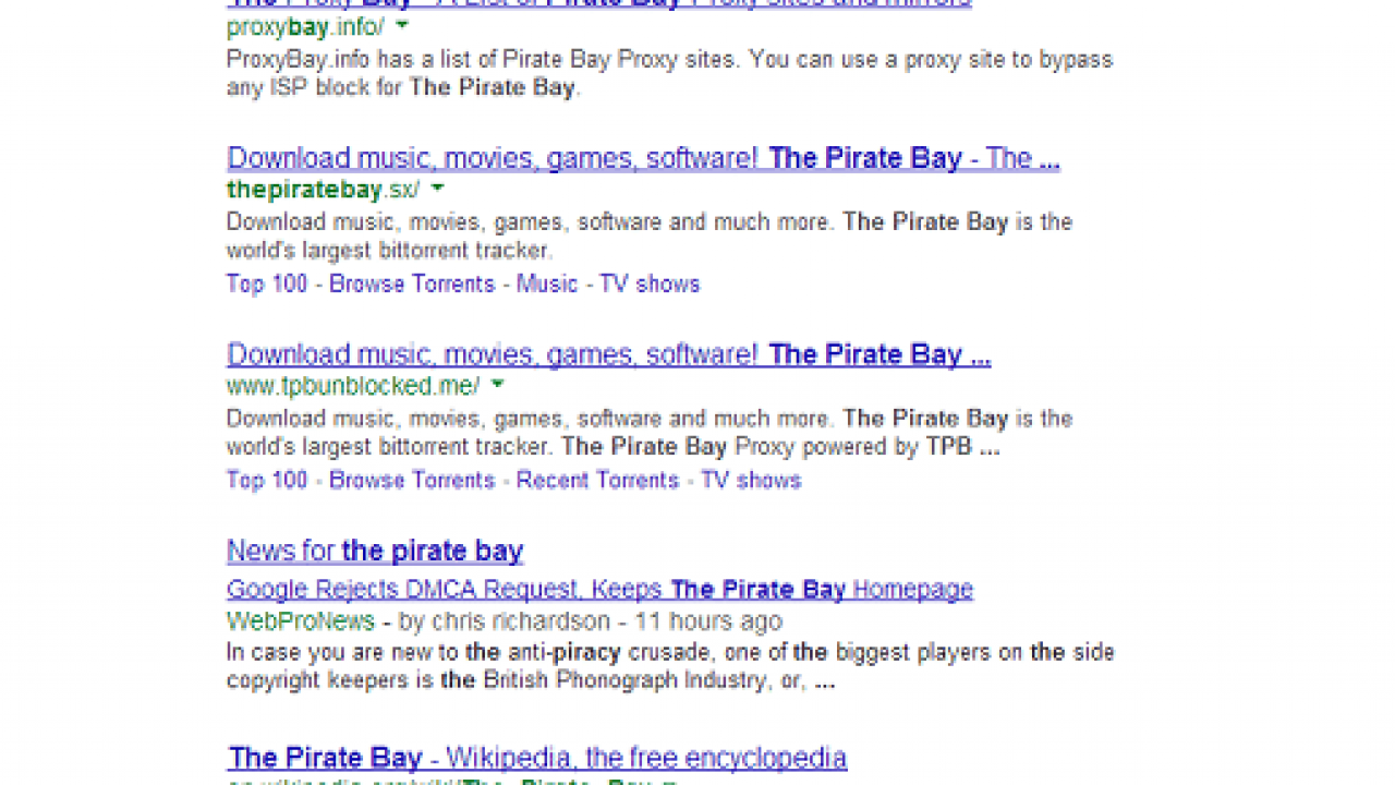 Google Ignores Requests To Delist Pirate Bay Homepage | eTeknix