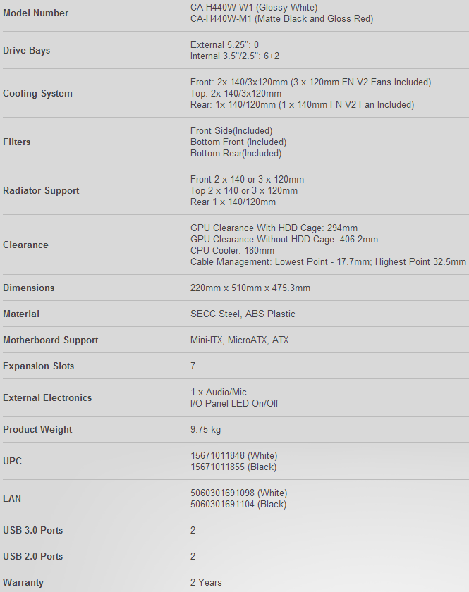 NZXT H440 Specifications
