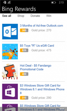 Bing Rewards App for Windows Phone Launched, 5 Months after