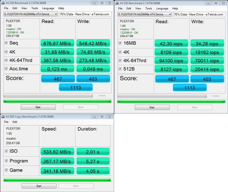 Plextor_M6e_BE-Benchmark-ASSSD_combined