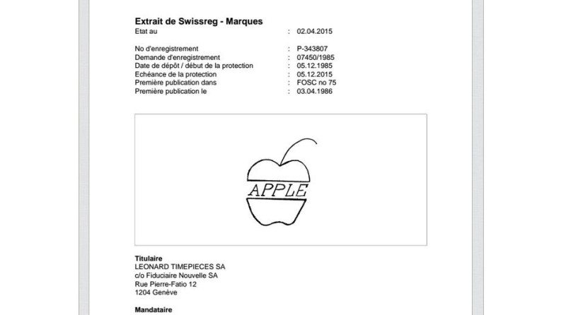 apple swiss patent