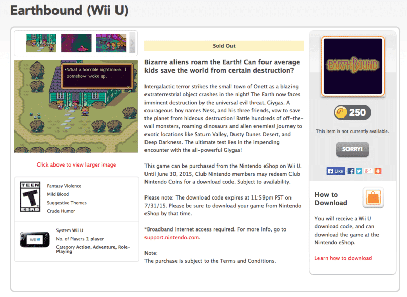 earthbound sold out