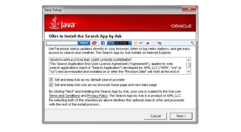 Ask Toolbar Java