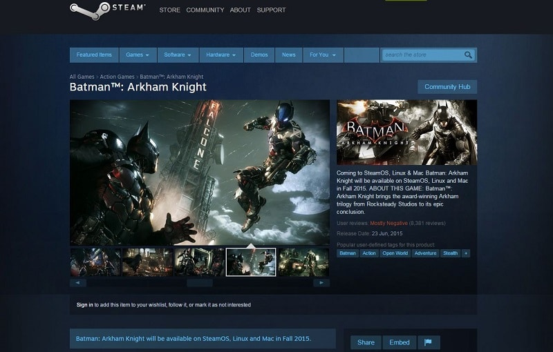 Batman Arkham Knight Warern bros Steam Page Sales Stopped