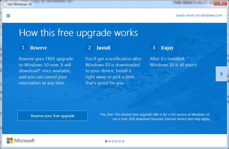 Windows 10 reserve upgrade 1