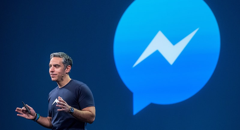 David Marcus, vice president of messaging products at Facebook Inc., speaks during the Facebook F8 Developers Conference in San Francisco, California, U.S., on Wednesday, March 25, 2015. Facebook Inc. is opening up its Messenger chat application, letting developers create software for people to add photos, videos and other enhancements to their online conversations. Photographer: David Paul Morris/Bloomberg  *** Local Caption *** David Marcus