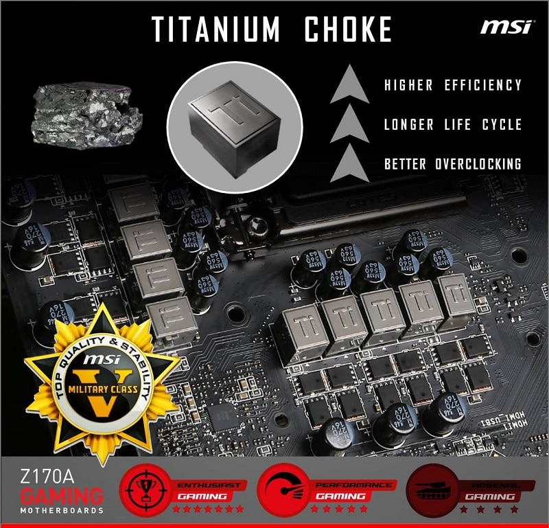 MSI Z170A XPOWER Gaming Titanium Edition Motherboard Titanium Chokes VRM