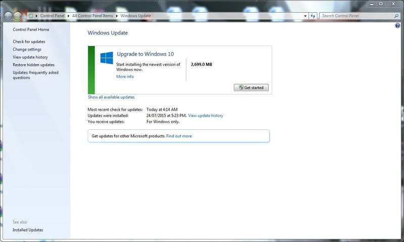 Microsoft Windows 10 Upgrade Windows Update Free