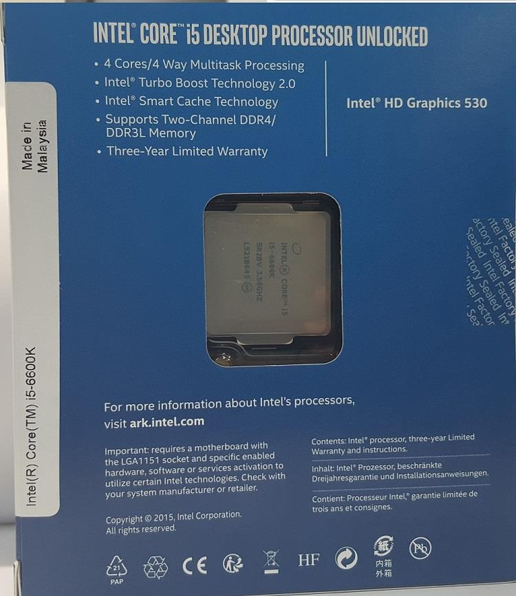 Intel x86 CPU Skylake Box i5 6600K 2