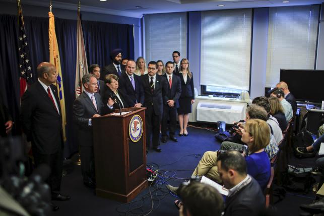U.S. Attorney for New Jersey Paul J. Fishman speaks during a news conference in Newark, New Jersey
