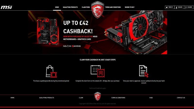 MSI Cash Back Intel Nvidia GPU Motherboard