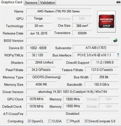 AMD Radeon R9 380X GPU GPU-Z