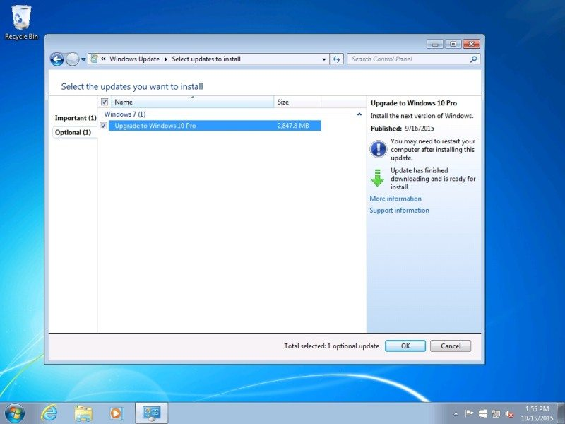 Microsoft Windows 10 Upgrade Selected by default