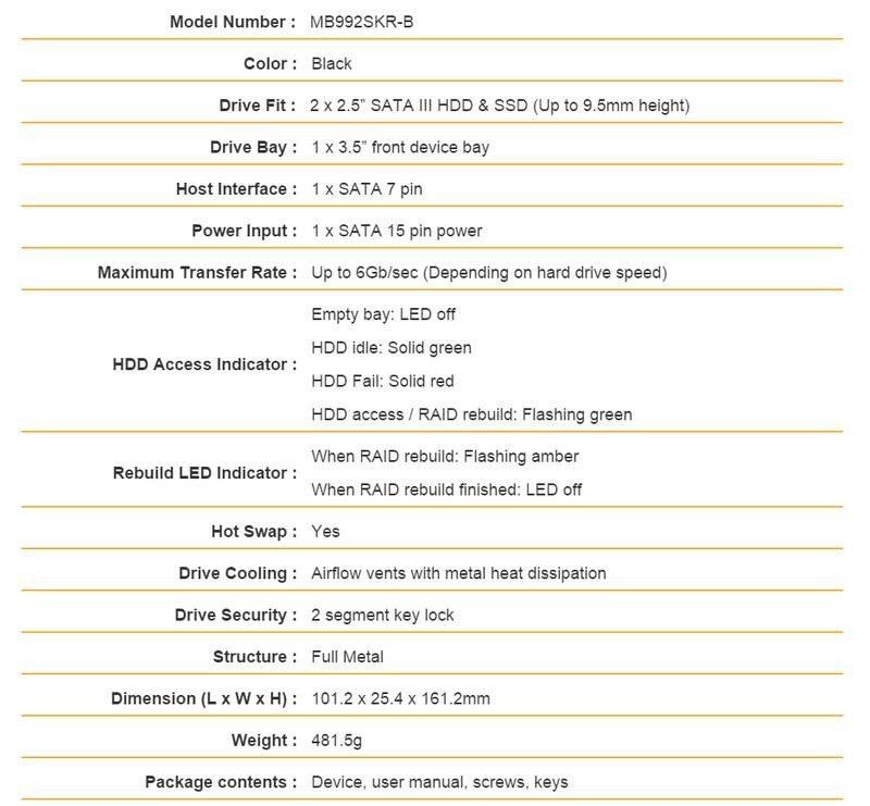ICYDOCK ToughArmor MB992SKR-B specs