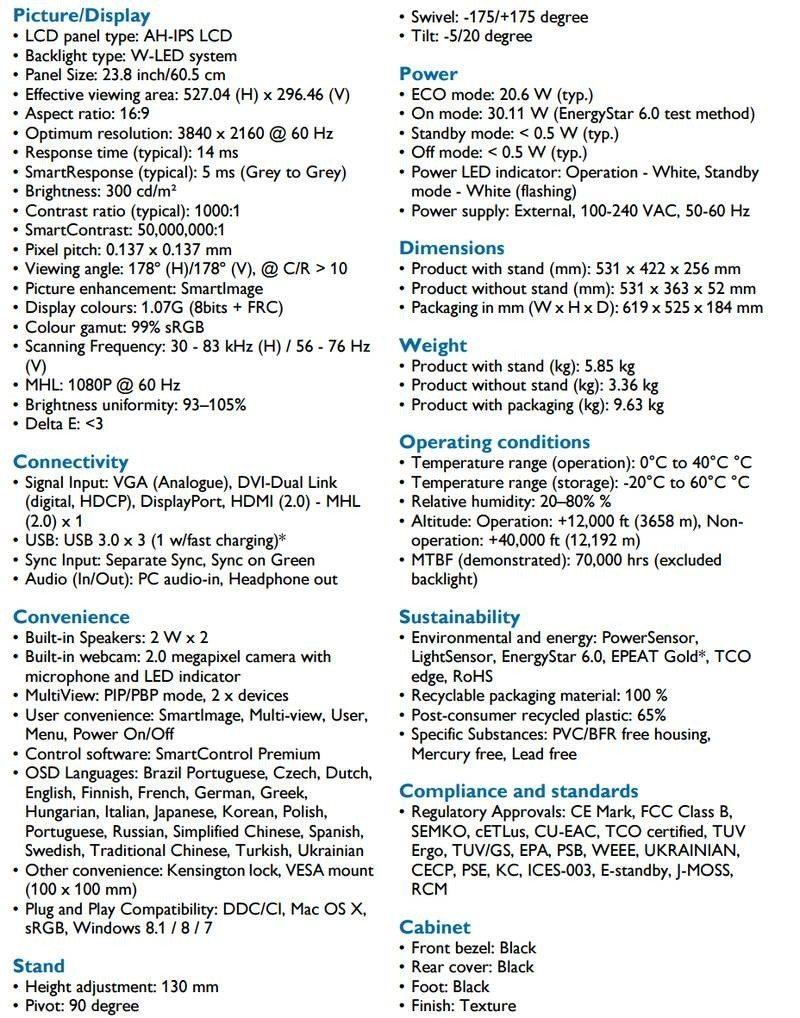 Philips 241P6VPJKEB specs