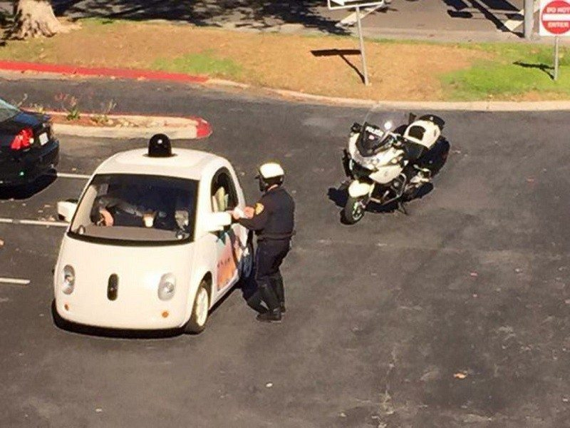 google self-driving car pulled over
