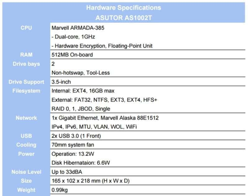 ASUSTOR AS1002T specs fixed2