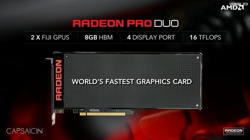 AMD Radeon Pro Duo FuryX2 FijiX2 GPU 1