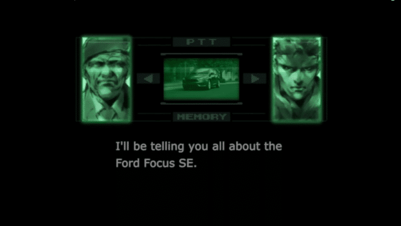 MGS Codec Ford Advert