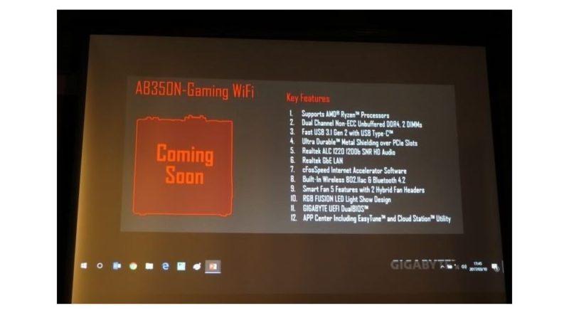 Gigabyte Developing AB350N-Gaming WiFi Mini-ITX AM4 Motherboard
