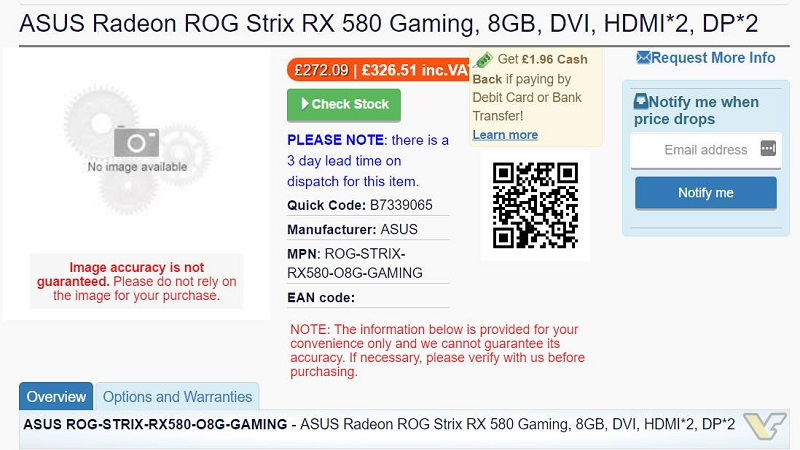 ASUS AMD Radeon RX 500 Graphics Card Listed Online   eTeknix