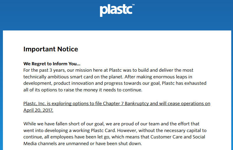 Smartcard Maker Plastc Shuts Down, Screwing Thousands of Backers