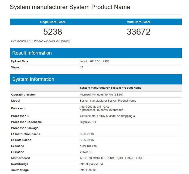 Intel Core i9-7960X Engineering Sample Geekbench 4 Leaked
