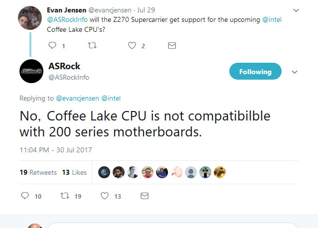 Coffee Lake needs a new motherboard