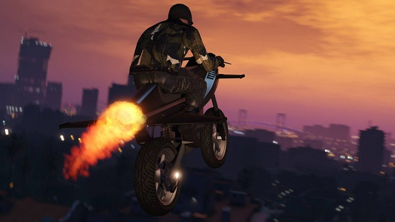 Gta 5 Bike Stunt Is Incredible To Watch With A Grandstand Finish