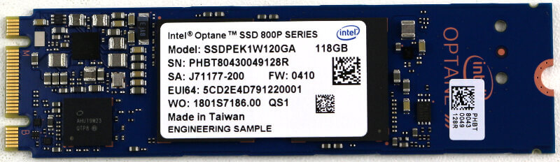 Intel Optane 800P 118GB Photo top view
