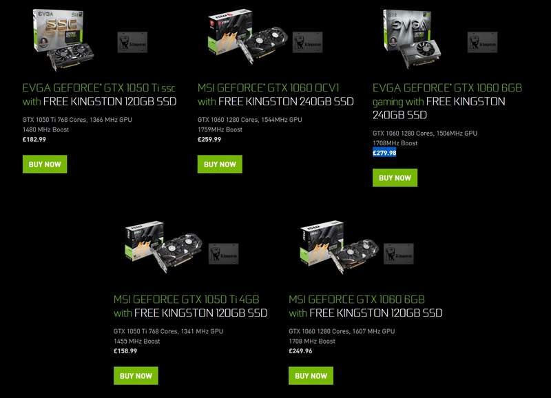 NVIDIA Offers Free Kingston SSDs with GTX 1050Ti/1060 | eTeknix