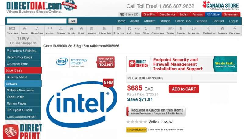 Intel I9 9900k Gets Listed Online For