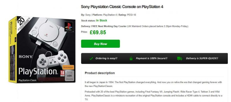UK PlayStation Classic Sale Drops Price Below £70 | eTeknix