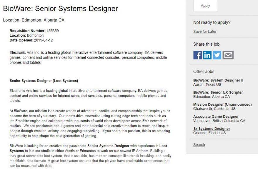 Bioware Hiring People to Redesign Anthem Loot System   eTeknix