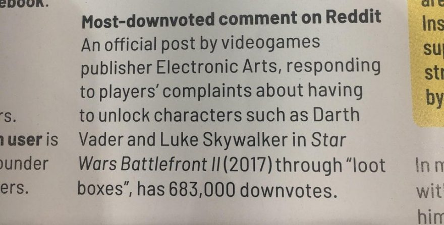 EA gets Guinness World Record for Most Downvoted Reddit Post