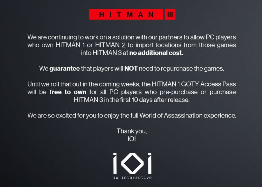 It's Official, You CAN Transfer Your Old Saves to Hitman 3!