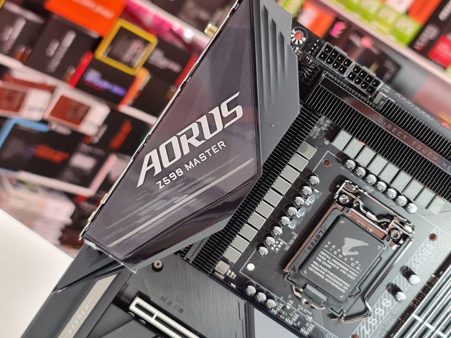 AORUS Z590 Master rear io top aorus logo